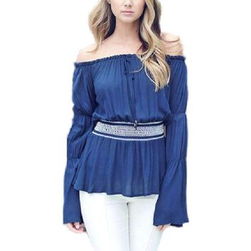 Off Shoulder Long Sleeve Peasant top, Navy