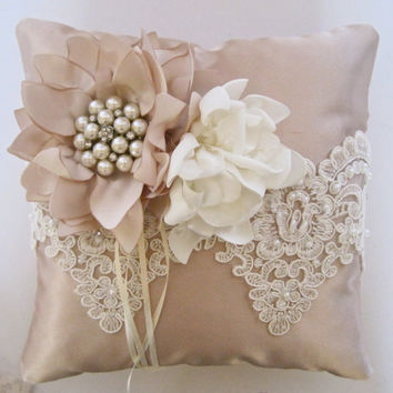 Stunning and Elegant Champagne and Ivory Ring Bearer Pillow with Alencon Lace Trim and a Gorgeous Pearl and Rhinestone Brooch Accent