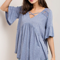 Denim Blue Contrasting Lace Baby Doll Top