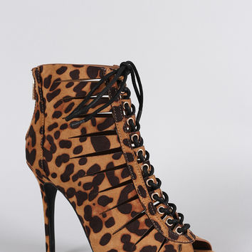 Anne Michelle Leopard Slit Lace Up Peep Toe Bootie
