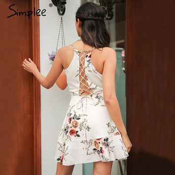 V Neck Backless Summer Dress