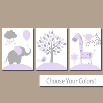 LILAC GRAY Nursery Wall Art, CANVAS or Prints, Baby Girl Nursery Decor, Elephant Giraffe Tree, Jungle Safari Animals, Set of 3 Crib Decor