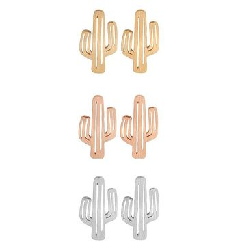 Cactus Earrings in Metallic Gold, Rose Gold, or Silver