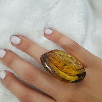 BIG Rock statement ring amber and 925 sterling silver authentic dominican jewelry ambar unique design crystal accessory yellow ring size 8