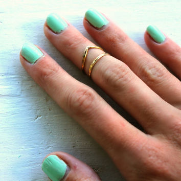 Sterling silver antiqued knuckle ring, chevron stacking rings - midi rings, hammered, textured knuckle rings, silver rings
