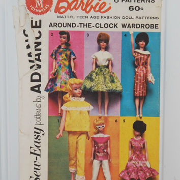 Sew Easy Patterns by Advance (c. 1962) Barbie Mattel Teen Age Fashion Doll Patterns Around The Clock Wardrobe, PJ's, Retro Vintage Fashion