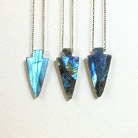 Labradorite arrowhead necklace blue flash gemstone arrowhead jewelry -choose your own