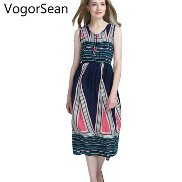 VogorSean Women Sleeveless Dress Summer Bohemian Boho 2017 New Fashion Sexy Floral Print Long Dresses For Woman Clothing Work