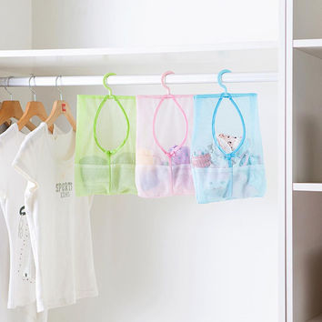 1Pc Multi Purpose Hang Mesh Bag Clothes Storage Laundry Bags For Bathroom & travel 3 Colors