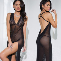 Hot Deal Cute On Sale Sexy See Through Black Split Transparent Exotic Lingerie [6595686659]