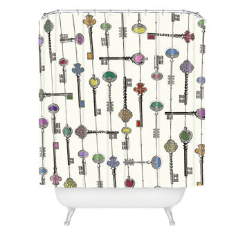 Belle13 Love Is The Key Shower Curtain