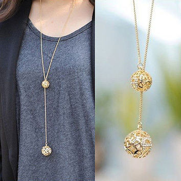 Elegant Classic Hollow Balls Pendant Necklace Long Gold Plated Chain Necklaces A