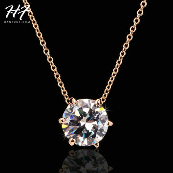 Multi Prongs Synthetic Crystal Hearts and Arrows Rose Gold Color CZ Pendant Necklace with 6mm Cubic Zirconia N431 N432