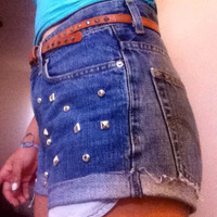 Half studded denim shorts  by AngeliqueMerici on Etsy