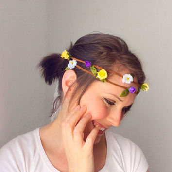 Flower Crown, Floral Headpiece, Bohemian Wedding, Bridal Wear, Festival Floral Boho Wreath, Romantic Bridal Hair Dress, Teen Gift Ideas,