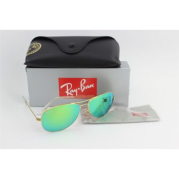 NEW Ray Ban Aviator 3025 112/19 Sunglasses GOLD frame GREEN MIRROR Lens 58 mm