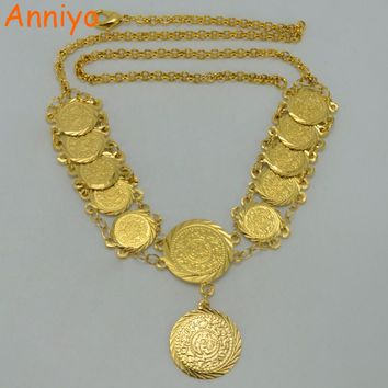 Anniyo 45CM Metal Coin Necklaces for Women,Gold Color Arab Coins Jewelry,African Fashion Jewellery Middle Eastern  #045206