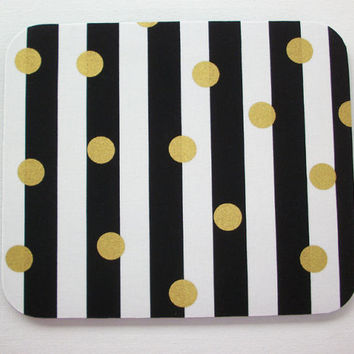 Mouse Pad mouse pad / Mat -  Black and white stripes with gold Metallic dots  -  round or rectangle - office accessories desk home decor