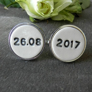 Personalized Cuff Links Wedding Important Date Cuff Links Father of the Bride Gift Groom Best Man Groomsmen Custom Cuff Links