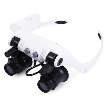 10X 15X 20X 25X Binocular Loupe Magnifying Glasses Magnifier Multiple Headband Magnifier with 2 LEDs Light for Jewelry Appraisa