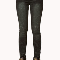Spiked Acid Wash Skinny Jeans