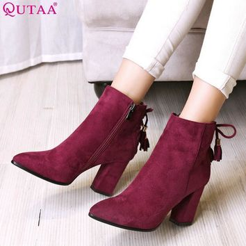 QUTAA 2016 Women Shoe Zipper Ladies Square High Heel Black Bow Tie All Match Ankle Boo