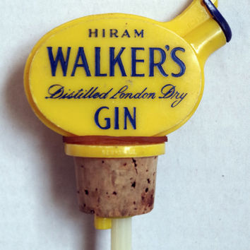 Vintage Pour Spout, Hiram Walker's Gin, Cork Stopper with Plastic Cap Topper, Retro Barware Advertising, Collectible Liquor Bottle Pourer