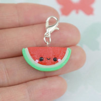 Kawaii Watermelon Charm | Polymer Clay | Necklace Bracelet | Cute Handmade Gift | Miniature Food Fruit Jewelry