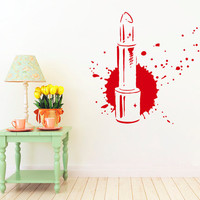 Wall Decals Lipstick Beauty Salon Vinyl Sticker Decal Woman Salon Makeup Lipstick Home Decor Window Dorm Living Room NA322
