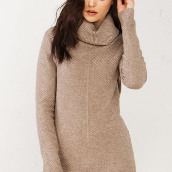 Sweater Dress in Black, Burgundy and Taupe