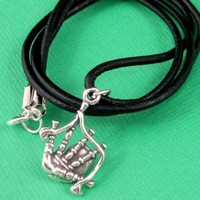 Scottish bagpipes charm necklace leather cord St. Patrick's Day Unisex