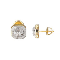 Princess Cut Solitaire Earrings 14k Gold Finish Simulated Diamonds Mens Ladies
