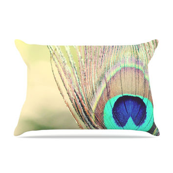 "Beth Engel ""Sun Kissed"" Peacock Feather Pillow Case"