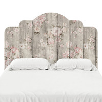 Wood Texture Floral Headboard Decal
