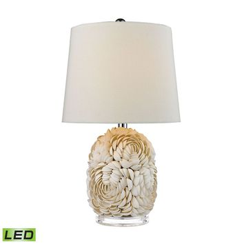 Natural Shell LED Table Lamp With Off White Linen Shade Shell