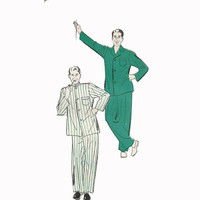 1940s Men's Pajamas New York Pattern 964 Size 34-36 Vintage Sewing Pattern