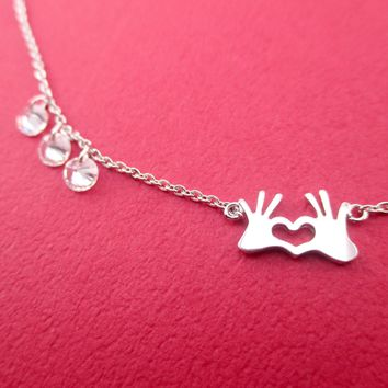 Hands Forming A Heart Shaped Rhinestone Love Pendant Necklace in Silver