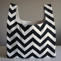 Chevron Market Bag Grocery Bag Black and White by LazyMondays