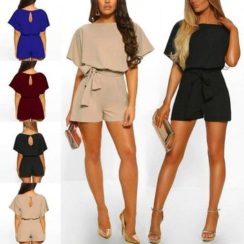 Womens Sexy Short Sleeve Jumpsuit Romper Casual Trouser Pants Crew Neck Playsuit