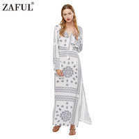 ZAFUL New Brand Women Novelty Boho Ethnic Vintage Printed Maxi Dress Long Flare Sleeve Retro Casual Party Dresses