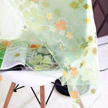 Factory Price! New Floral Print Sheer Curtain Panel Window Balcony Tulle Room Divider Scarf Curtain