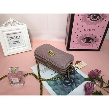 DCCK2 993 Gucci GG Marmont Three-Layer Mini Camera Package 19-10-8CM Brown