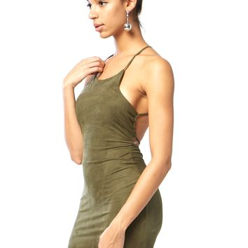 Strappy Back Suede Bodycon Dress