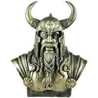 Norse God Odin Bronze Finish Bust Statue Viking