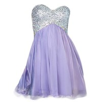 VILAVI A-line Sweetheart Short Chiffon Crystal Sequin Graduation Dresses