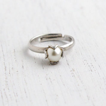 Vintage Sterling Silver Faux Pearl Ring - Retro Signed Sarah Coventry Adjustable Jewelry / Dainty White Luster