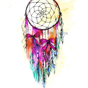 Dreamcatcher Illustration Signed From Hollysharpe On Etsy My Inspiration Water Color Dream Catcher