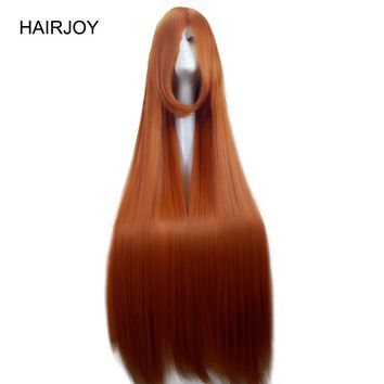 HAIRJOY Orange Color Costume Party Cosplay Wig 100cm Long Straight Synthetic Hair Full Wigs 4 Color Available Free Shipping