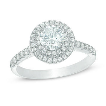 1-1/4 CT. T.W. Diamond Double Frame Engagement Ring in 14K White Gold - View All Rings - Zales