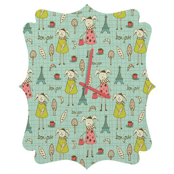 Heather Dutton Bonjour Lapin Quatrefoil Clock
